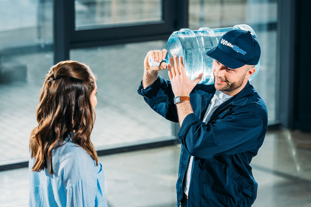 white water delivery guy with customer